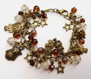 Brass Owls Bead & Charm Bracelet Kit